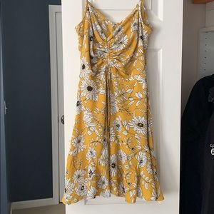 Yellow floral minidress with ruching